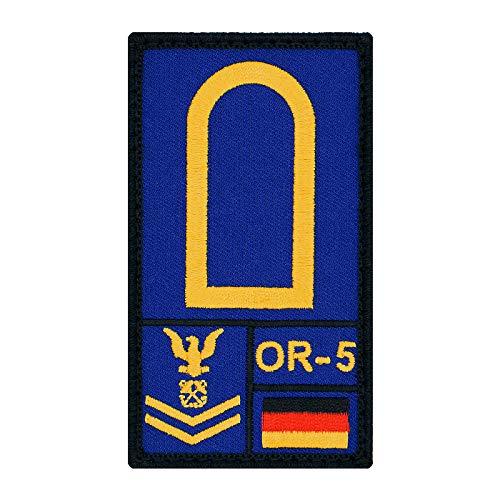 Café Viereck ® Obermaat Marine Bundeswehr Rank Patch mit Dienstgrad - Gestickt mit Klett – 9,8 cm x 5,6 cm (blau)