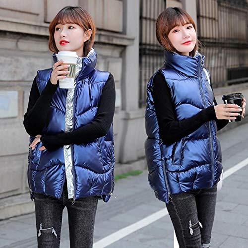 Chaqueta de Plumas Otoño Invierno Mujer Chaleco Casual Chaleco Corto Bolsillo con Cremallera Espesar Cálido Chaleco Sin Mangas Parkas para Mujer M Azul