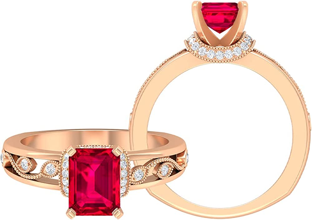1.75 CT Octagon Cut Created Ruby Solitaire Ring, Moissanite Accent Ring, Gold Milgrain Ring (Heirloom Quality), 14K Gold