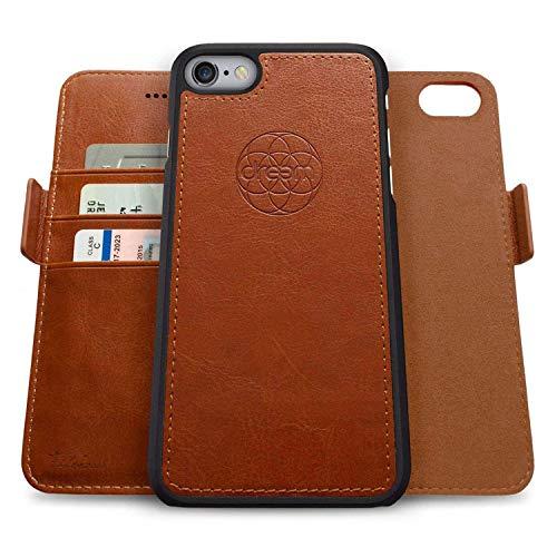 Dreem Fibonacci 2-in-1 Wallet-Case for Apple iPhone 6 Plus & 6s Plus - Luxury Vegan Leather, Magnetic Detachable Shockproof Phone Case, RFID Card Protection, 2-Way Flip Stand - Caramel