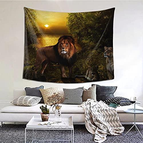 Tapiz para colgar en la pared, diseño de león bajo el entorno, para ventana, decoración del hogar, cortina para dormitorio, collage para dormitorio, oficina, 152 x 51 cm