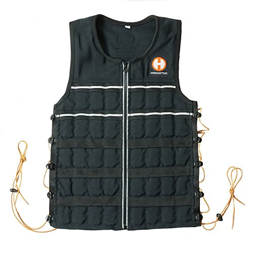 Hyperwear Hyper Vest Elite Weighted Vest Thin Adjustable Large 10lbs/ 15lbs/ 20lbs Unisex Sizes, Durable Cordura Fabric, Reflective Trim, and Shock Cord Side Lacing (10, Large)