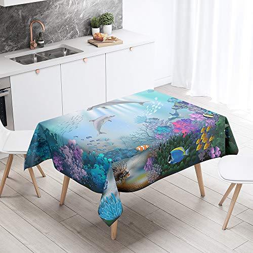 Sticker Superb. 3D Bleu Mer Océan Animal Dauphin Nappe Rectangulaire Anti Tache Lavable Nappe de Table Nappes pour Cuisine Table à Manger Décoration de Buffet (Dauphin 3,140 x 200cm)