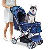 Noodoky Pet Stroller for Cats Dogs Rabbit with Reversible Handle, Dog Stroller for Small or Medium Animal up to 50 Pounds, Doggie Bunny Stroller Carriage