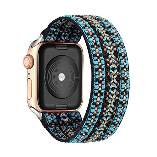 WSGGFA Loop Banda Bohemia elástico de Nylon for Apple Seguir 6SE Correa 38/40 mm 42/44 mm for IWATCH 5/4/3 2 Hombre Mujeres Ver Banda (Band Color : Bohemia Green, Band Width : 42mm 44mm M L)