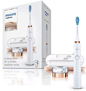 Philips Sonicare DiamondClean Electric Toothbrush, 2019 Edition, Rose Gold (UK 2-pin Bathroom Plug with USB Travel Charger)