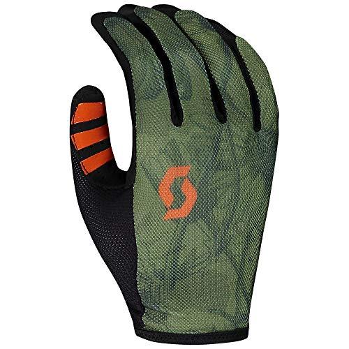 JTOES Scott Traction LF Glove, Motorcross Mountain Bike Cycling, Full Finger Pair of Gloves, Best MTB Lightweight Race & Trail Glove (Green, Medium)