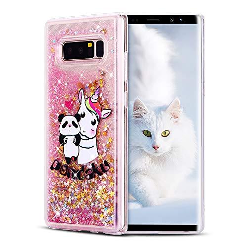SpiritSun Funda para Samsung Galaxy Note 8, Carcasa Transparente Líquido Bumper Tapa Silicona Case Flexible Gel TPU Suave Protectora Caso [Shock-Absorción] para Samsung Galaxy Note 8 Rosa - Panda