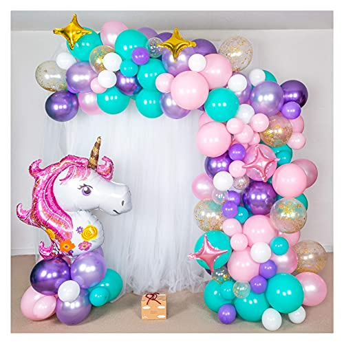 Shimmer and Confetti Premium 16 foot Unicorn Balloon Arch and Garland Kit with Giant Unicorn Balloon, 145 Pink, Purple and Aqua Balloons, 5 Gold Confetti Balloons, Stars, Balloon Tape, Tying Tools