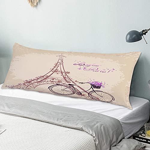 PATINISA Funda de Almohada para el Cuerpo,Bonjour Paris Torre Eiffel y Bicicleta Vintage con Flores Retro Color Suave,Funda de Almohada Rectangular para sofá, Cama, Dormitorio y Coche