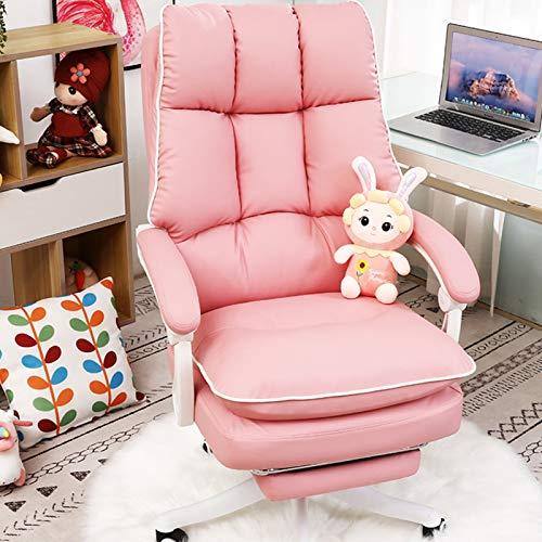 Silla de oficina giratoria de cuero PU ajustable moderno ejecutivo silla de oficina pies de nylon Silla de computadora de respaldo alto silla de escritorio ergonómica blanco/rosa/negro/gris, rosa