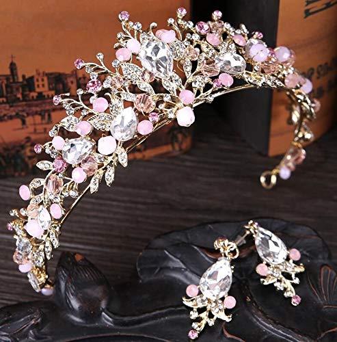 Guiping Corona de novia hecha a mano tiara novia diadema de cristal diadema corona de reina accesorios para el pelo de boda (color metal: rosa con pendientes)