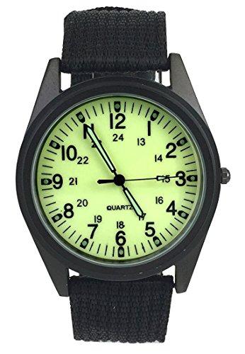 City Fashion Negro Funda Verde Claro Dial Nylon Correa de Tela Reloj de Pulsera
