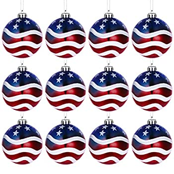 LUOEM Hanging Ball Christmas Ball Ornaments Christmas OrnaJuly of 4th Ball Hanging Independence Day Party Decor Christmas Ornaments Patriotic Ball Ornaments Holiday Wedding Tree Decorations,Pack of 12
