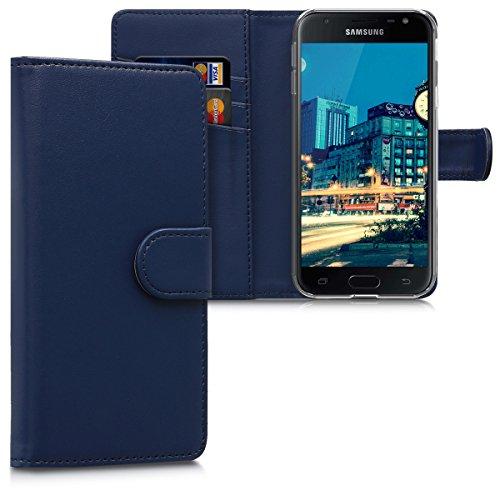 kwmobile Funda Compatible con Samsung Galaxy J3 (2017) DUOS - De Cuero sintético - Case con Tarjetero en Azul Oscuro