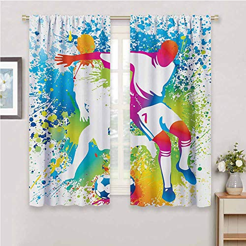 DIMICA Kids Curtain Youth Football Players with a Soccer Ball and Colorful Grunge Splashes Competition Sports for Window Curtains Valances W52 x L84 Inch Multicolor