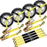 """Trekassy 2""""x 144"""" Wheel Net Car Tie Down Straps Heavy Duty with Snap Hooks, 3333lbs Safe Working Load, 4 Pack Ratchet for Trailers with 4 Axle Straps"""