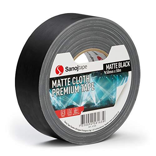 Sanojtape Schwarz Matt Gaffer 50mm x 50m Professionelles Duct Tape Leistungsstarkes Gaffer Tape für die Ton- und Lichtindustrie