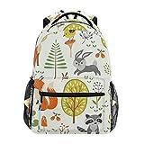 Mochila escolar casual de verão, floresta, animais, bagas, leve, para viagem, faculdade, bolsa de ombro para mulheres, meninas e adolescentes