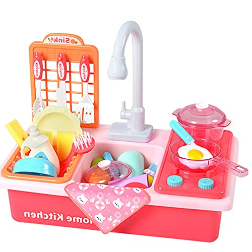 41PCS Kitchen Toys for Kids, Kitchen Sink Toys with Play Cooking Stove , Utensils Tableware Accessories for Toddlers Kids ,kitchen play set with running water (Pink)