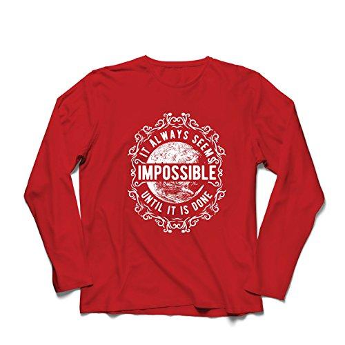 lepni.me Herren T Shirts Gib Niemals auf - es scheint Immer unmöglich, bis es getan ist, motivierend - inspirierende Zitate (Medium Rot Mehrfarben)