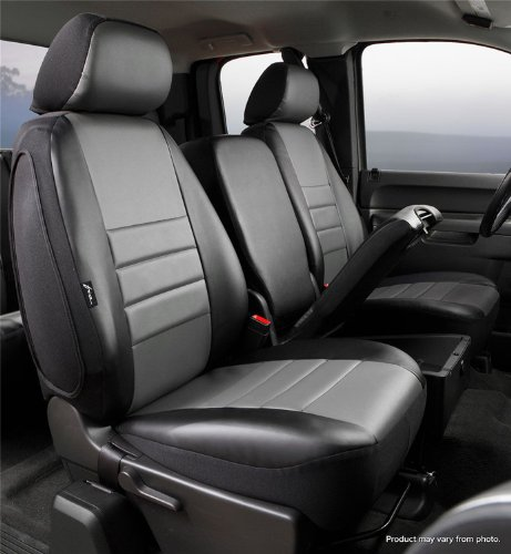 Fia SL69-40 GRAY Custom Fit Front Seat Cover Split Seat 40/20/40 - Leatherette (Black w/Gray Center Panel)