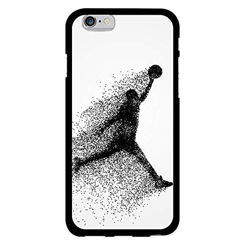 BJJ SHOP Funda Negra para [ iPhone 6   iPhone 6s ], Carcasa de Silicona Flexible TPU, diseño : Jugador de Baloncesto Abstracto Saltando