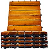 Interlocking Deck Tiles 10 Pack - Snap Together Wood Flooring | 12 x 12 Acacia Hardwood Outdoor Flooring for Patio | Click Floor Decking Tile, Waterproof Balcony Flooring, Wooden Parquet Flooring