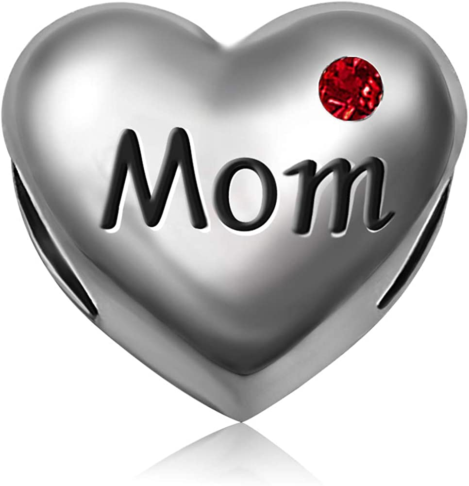 JMQJewelry Mom Mothers Day Heart Love Birthday Birthstone Jan-Dec Month Charms for Bracelets Son Daughter Girl Boy Gifts