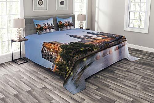 ABAKUHAUS Stadt Tagesdecke Set, Morgen Australien Fluss, Set mit Kissenbezügen Sommerdecke, für Doppelbetten 220 x 220 cm, Hellblau Orange Grün