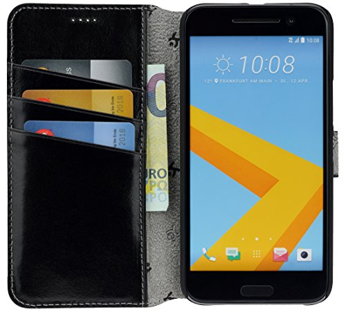 Suncase Book-Style Tasche kompatibel mit HTC 10 Ledertasche Leder Schutzhülle Hülle Hülle (mit Standfunktion & 3 x Kartenfach) schwarz