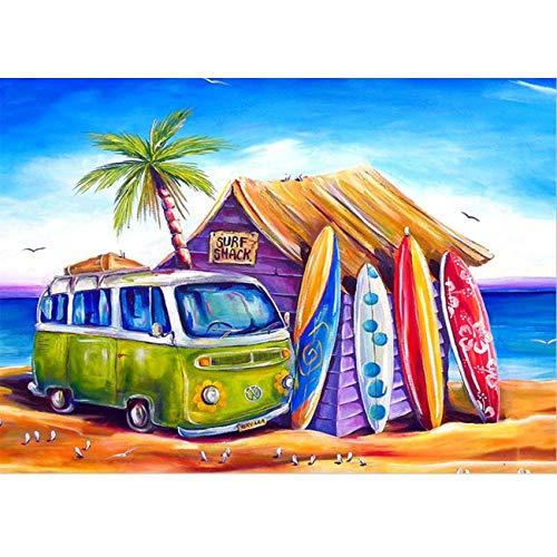 MXJSUA Kits de Pintura de Diamante para Adultos, Taladro Completo Surf Shack Rhinestone Bordado de Punto de Cruz Fotos Arts Craft Home Decoración de Pared 30x40 cm