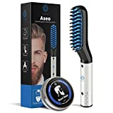 Beard Straightener for Men, Multifunctional Hair Styler Electric Hot Comb and Beard Straightening Brush Hair Straightening Comb with Dual Voltage 110-240V Great for Travel, Includes Beard Balm