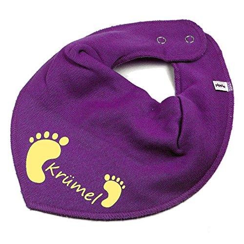 Elefantasie Elefantasie HALSTUCH Füßchen mit Namen oder Text personalisiert lila für Baby oder Kind