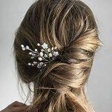 IYOU Brautschmuck Hochzeit Haarnadeln Silber Kristall Haarspange funkelnde Strass Haarteile Blume Perle Braut Haarschmuck für Frauen und Mädchen (2 Stück) (Silber)