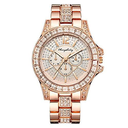 Ownlife Reloj Cinturón de Acero Mujeres Moda Vida Impermeable Reloj de Cuarzo a Prueba de Alta Gama Diamond-Studded Three-Eye Gypsophila Femenina Reloj (Color : B)