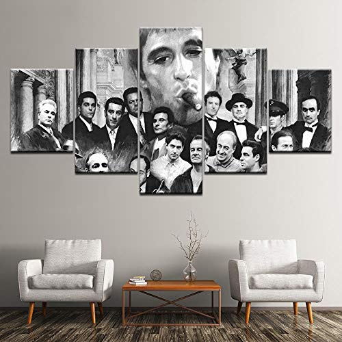 Goodfellas Godfather Scarface Leinwand Malerei Sopranos 5 Stück Kunstwandmalerei Für Poster Papier Drucken Wohnkultur(With Frame size)