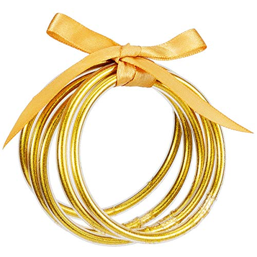 5 Pack Glitter Filled Bangles- Soft Glitter Silicone Bracelet Sparkling Fashion Bangles (Gold)