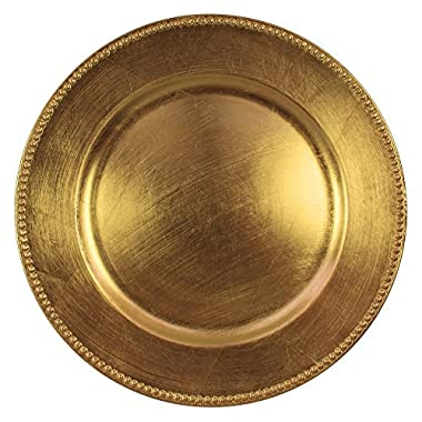 Jay Imports 13  Beaded Gold Round Chargers Plates, Set of 6