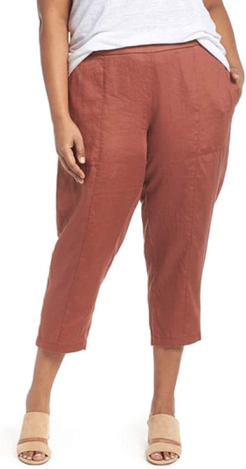 Eileen Fisher Womens Plus Linen Ankle Casual Pants Brown 2X