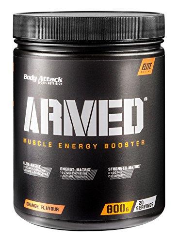 Body Attack Armed ein Muscle Energy Booster mit hochdosierten Wirkstoffen, Orange, 800 g