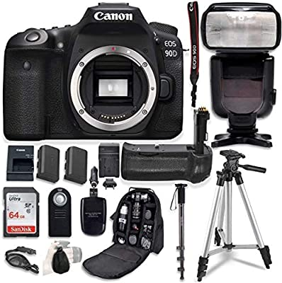 Canon EOS 90D Digital SLR Camera Bundle (Body Only) with Battery Grip & Professional Accessory Bundle (15 Items) from Canon