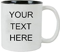 Personalized Add Your Custom Text White Ceramic 11 Oz Coffee Mug Customizable, (Black)