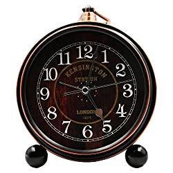 OURISE 5.5 Metal Antique Table Clock, Retro Vintage Non-Ticking Small Alarm Clock,Battery Operated Silent Quartz Movement Desk Gift Clock for Bedroom Living Room Indoor Decoration Kids (01)