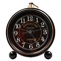 5.5 Metal Antique Table Clock, Vintage Silent&Non-Ticking Alarm Clock, Retro Loud Desk Clock for Kids Bedroom Living Room Decoration(01)