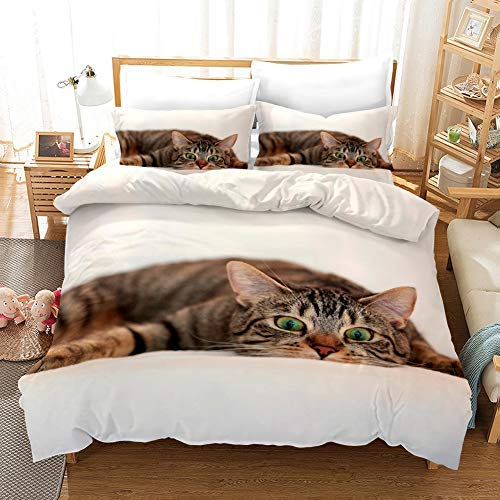 SA&NOELY Animal Pattern Forest Ocean Pattern Duvet Cover Bedding Set - Duvet Cover and Pillowcase, Microfiber, 3D Digital Print Three-Part Bedding Set (Duvet Cover + Pillowcases), 33, Single 135*200cm