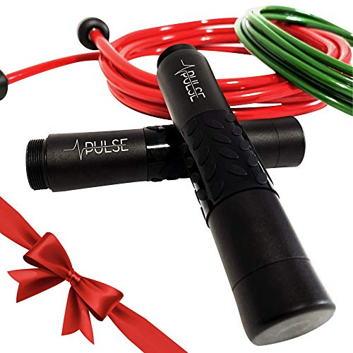Pulse Weighted Jump Rope Set with 1/4 LB and 1/2 LB Rope and Aluminum Handles.