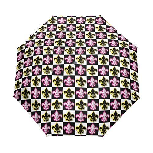 SUHETI Ombrello Portatile,Stampa pop art a scacchi Fleur De Lis,Ombrello Pieghevole Automatico Antivento