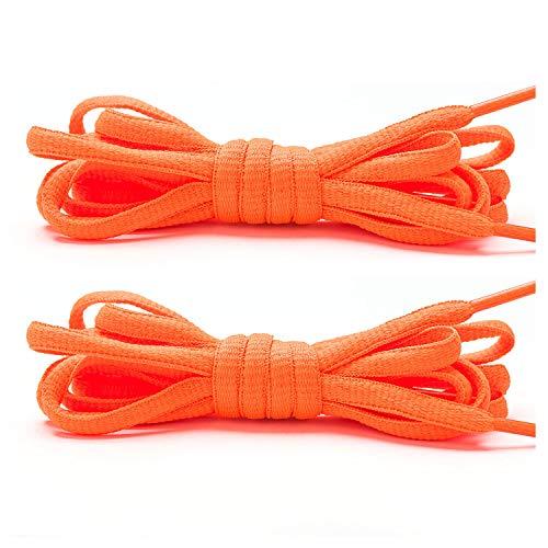 Stepace [2 Paia di Lacci Arrotondati da 60cm per Sneakers, Lunghezza 200cm 18 Colori, Lacci per Scarpe Arancione 140cm