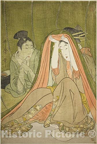 Historic Pictoric Print : Emerging from a Mosquito Net, Kitagawa Utamaro, c 1799, Vintage Wall Decor : 08in x 12in